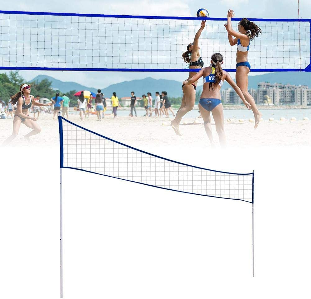 Amazon Com Badminton Net Outdoor Portable Volleyball Net Adjustable Foldable Badminton Tennis Volleyball Net With Stand Pole For Beach Grass Park Outdoor Venues Kitchen Dining