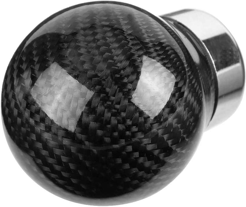 Qiilu Universal Carbon Fiber Round Shift Knob Manual Stick Shift Knob Gear Stick Shift Head Replacement Kit