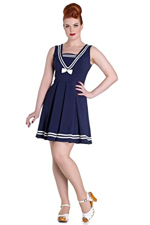 e978c58f6da Hell Bunny Kawaii Navy Sailor Nautical Love Mini Dress - Sailor Ruin Dress  (M)