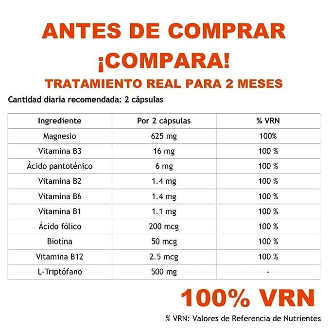 Triptofano + Magnesio + 8 Vitaminas del grupo B ayuda a conciliar el sueño y mejora el estado de animo. 120 capsulas de 850mg Tratamiento para 2 meses ...