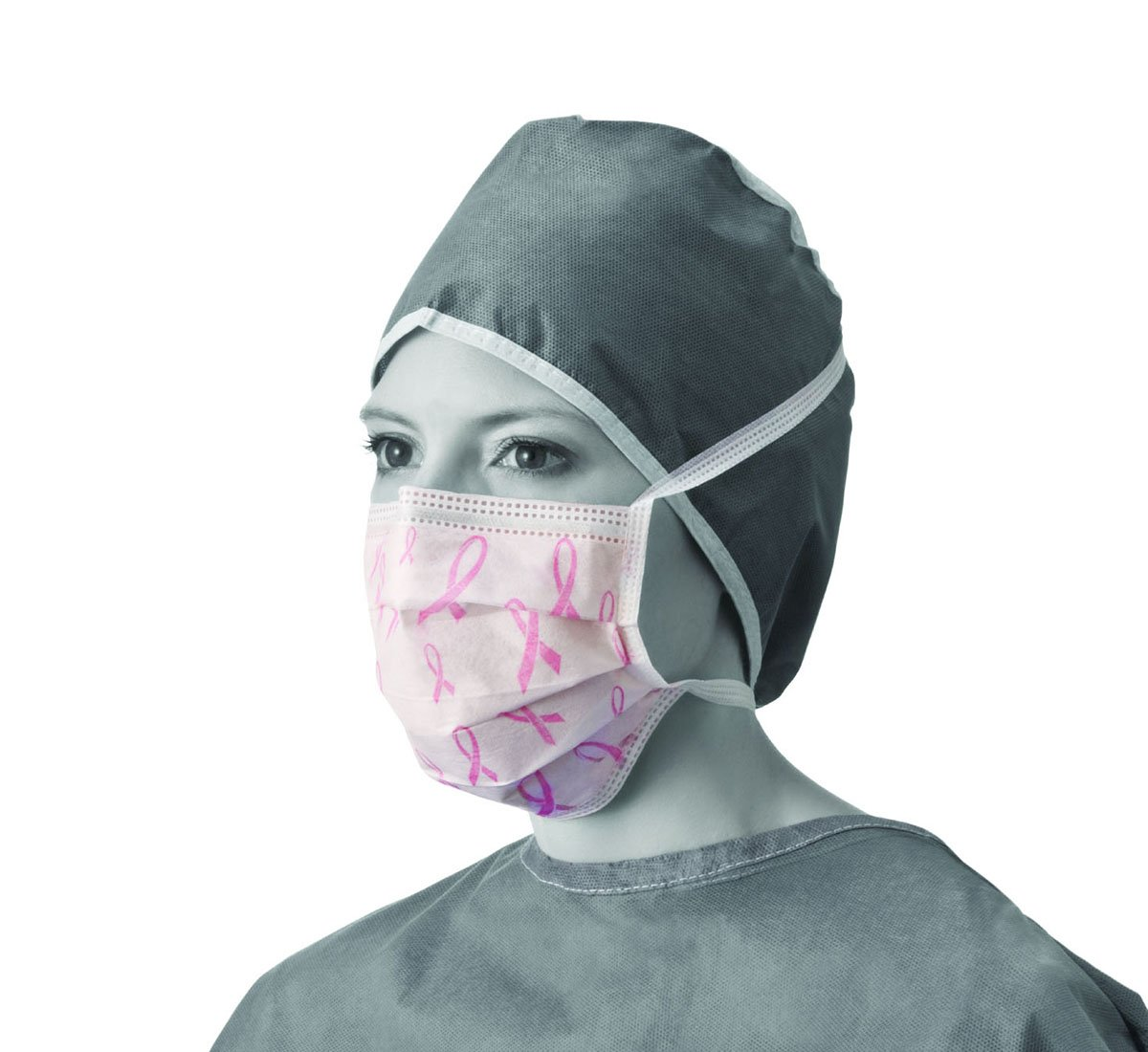 Medline NONRIBBON Surgical Face Masks with Ties, Pleated Style, Cellulose, Latex Free, White with Pink Ribbon (Pack of 300)