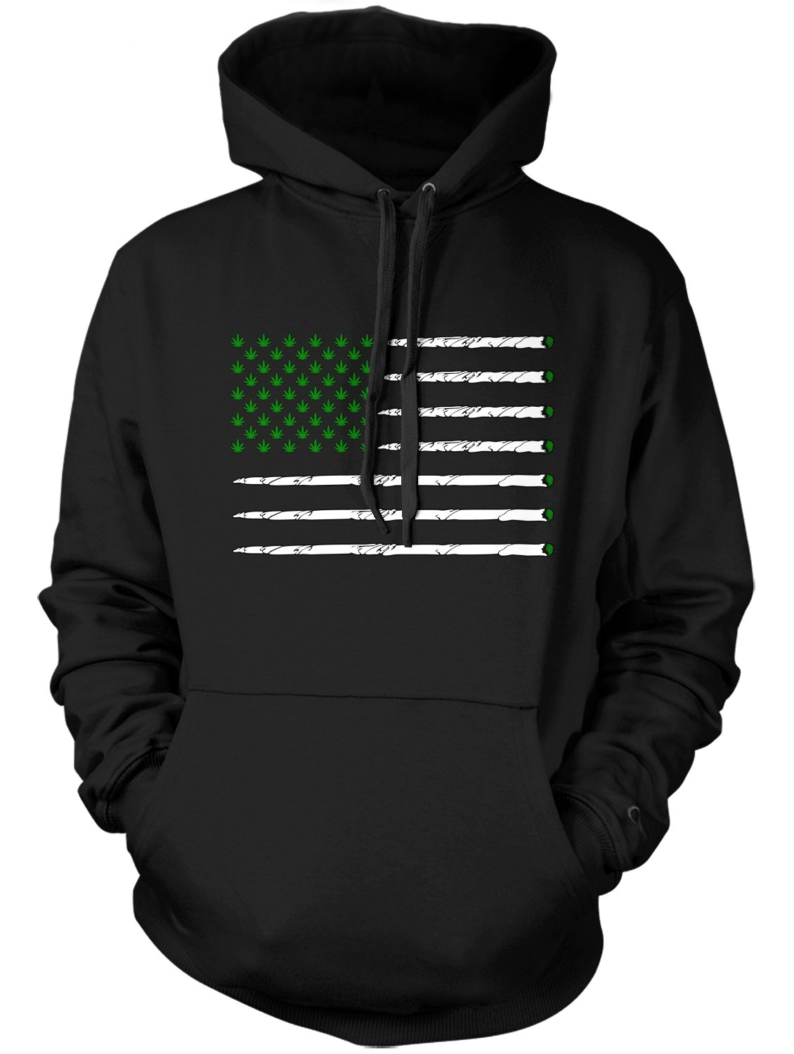 Manateez Men's United States of Cannabis Marijuana Flag Hoodie