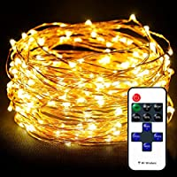 Waterproof Copper Wire Lights by Tooge, Led String Lights UK Power Adapter Included (100LED, 33FT)