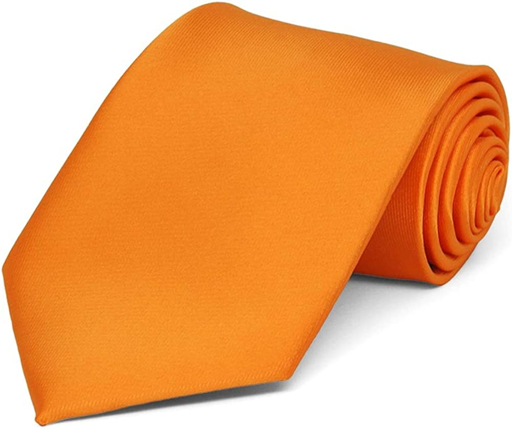 TieMart Boys Orange Solid Color Necktie