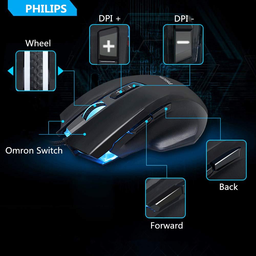 Philips Souris Gamer Souris Gaming Professionnel Souris de Jeu Programmable Haute Performance avec Fonction de Vibration Souris Fil Ergonomique 8 Boutons