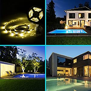 Solar Strip Lights, BESWILL 16.4 feet LED Flexible and Cuttable Solar String lights, Waterproof IP 65, 2 Modes, Auto ON/OFF Light Strips for Indoor Outdoor Lighting and Decoration(Warm White)