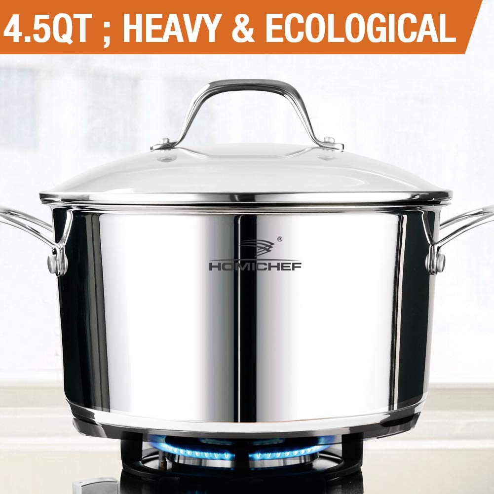 HOMI CHEF 4.5 Quart Stainless Steel Stock Pot with Glass Lid - NICKEL FREE Sauce Pot (No Toxic Non Stick Coating, 9.5 Inch)