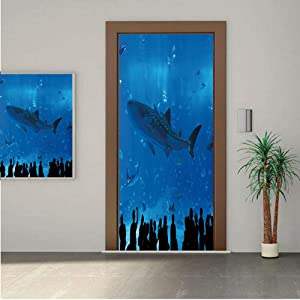 "Shark ONE Piece Door Stickers,Japanese Aquarium Park with People Silhouettes Watching Underwater Life Hobby Image Decorative 30x80"" Peel & Stick Removable Wall Mural,Decal,Poster for Door/Wall/Fridge"