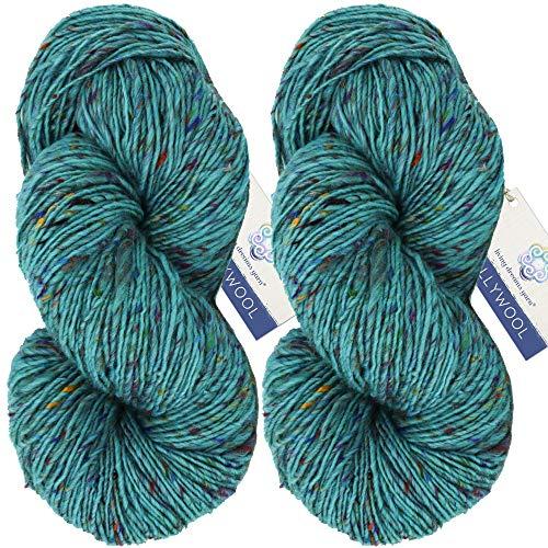 Living Dreams Yarn BOLLYWOOL DK. Super Soft Merino and Sari Silk. Colorful Tweed Yarn with Boho Flair. Homespun in USA. Two Pack, Mantra