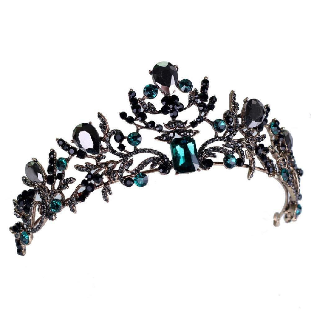 Santfe européenne Cristal Vert Diadème Vintage Noir Strass Couronne de Concours de beauté Baroque Mariage Bijoux de Cheveux Accessoires Cadeau WGHG131