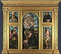 Oil painting ` Girolamo Romanino高Altarpiece s. Alessandro Brescia `印刷on Perfect effectキャンバス、30x 34インチ/ 76x 86cm、The Best廊下ギャラリーアートとホームアートワークとギフトはこの高解像度アート装飾プリントキャンバスの商品画像