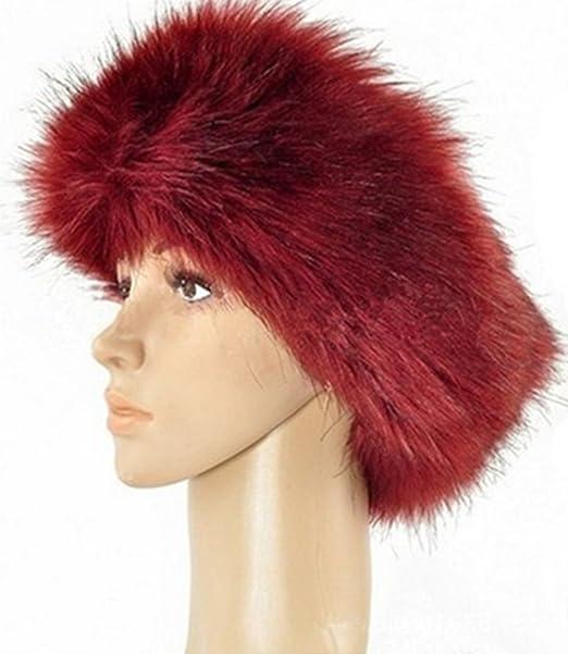 Amazon.com  Women Ladies Faux Fur Headband Earwarmer Earmuff Hat Ski (red)   Clothing 628c24aa74f