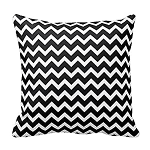 Black and White Chevron Pattern Design Throw Pillow Cover Case Home Decorative Square 16X16 Inch Two Sides