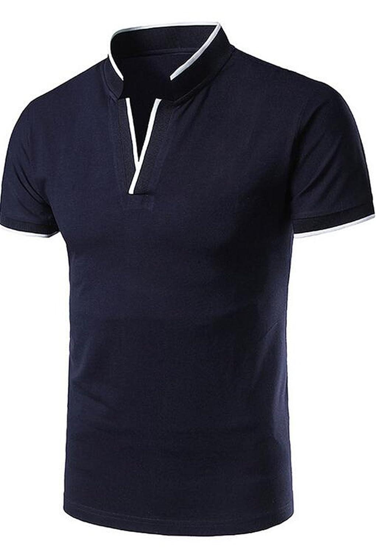 KLJR-Men Short Sleeve V-Neck Patchwork Standing Collar Polo Shirt
