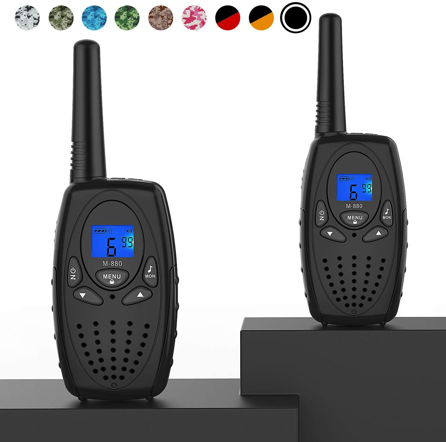 Topsung Walkie Talkies for Adults, M880 FRS Two Way Radio Long Range with VOX Belt Clip/Hand Held Walky Talky with 22 Channel 3 Mile for Family Home Cruise Ship Camping Hiking (Black 2 in 1)