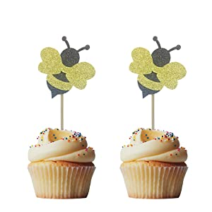Morndew 24 PCS Glitter Bumble Bee Cupcake Toppers for Honeybee Theme Party Gender Reveal Baby Shower Birthday Party Wedding Party Decorations