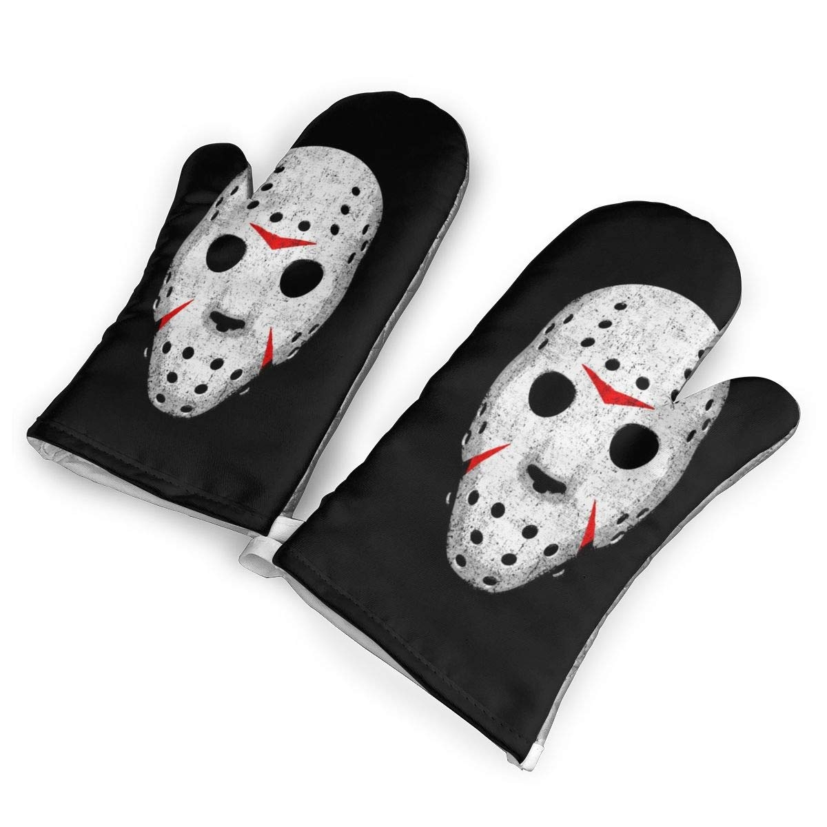 not Anti Pollution Mask Horror Oven Mitts with Polyester Fabric Printed Pattern,1 Pair of Heat Resistant Oven Gloves for Cooking,Baking,Grilling,Barbecue Potholders