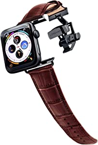 Longvadon Men's Caiman Series Watch Band - Compatible with Apple Watch 42MM (Series 1-3) & 44MM (Series 4-6) - Genuine Top Grain Leather - Mahogany Brown with Black Details - M Size