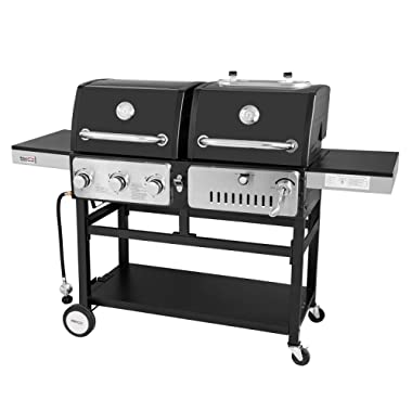 Royal Gourmet ZH3003 Dual 3-Burner Gas and Charcoal Grill Combo, for Outdoor Cooking, Black