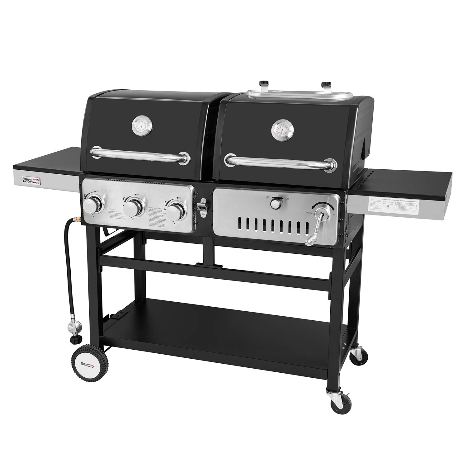 Royal Gourmet Durable Stainless Steel 3-Burner Gas/Charcoal Combo Grill, ZH3003