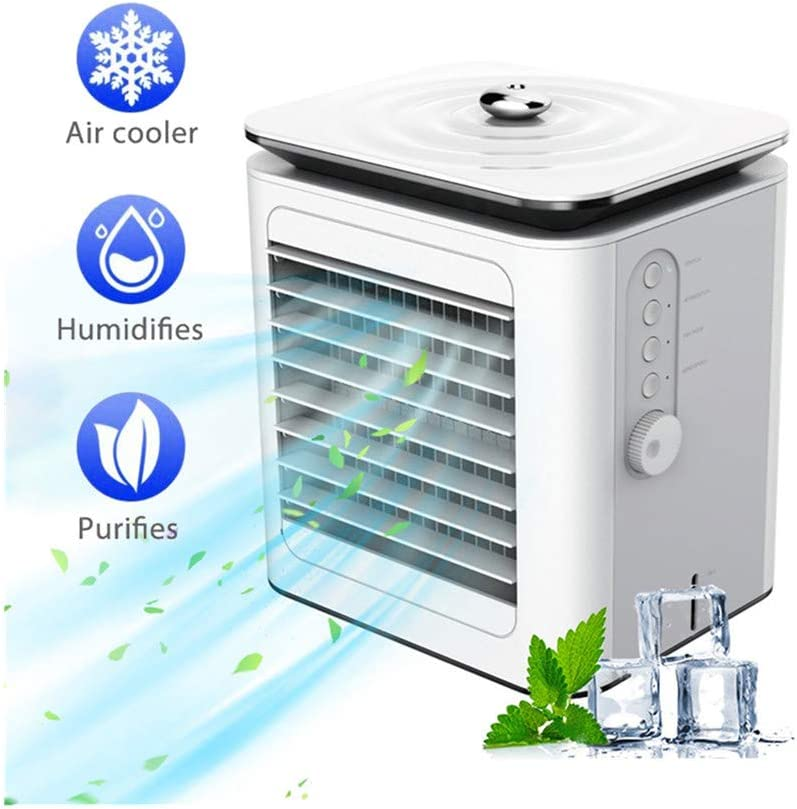 Portable Water Cooling Air Conditioner, Mini 4-Speed Evaporative Air Cooler with Spray, USB Quiet Air Purification Humidifier for Home Office Bedroom (White)