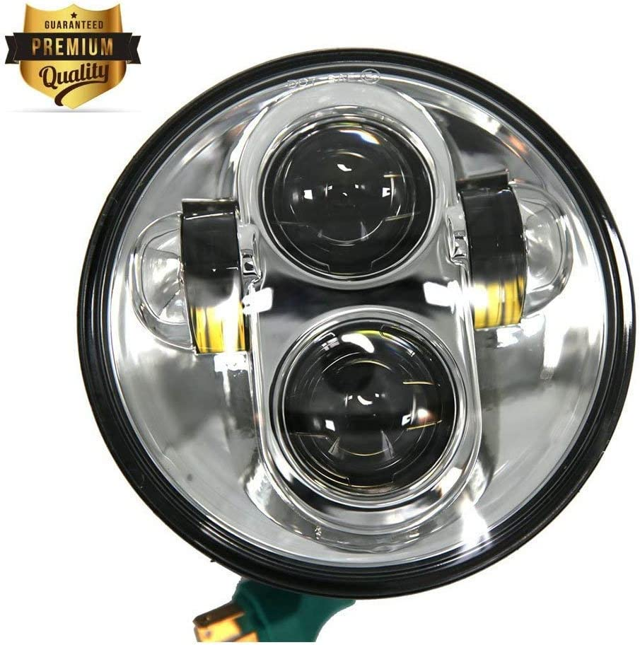 5.75 LED Headlight Motorcycle Black 5-3//4 Round Motorcycle Headlight for Harley Davidson Dyna Street Bob Low Rider Night Rod Train Softail Deuce Custom Sportster Iron 883 Projector Driving Light