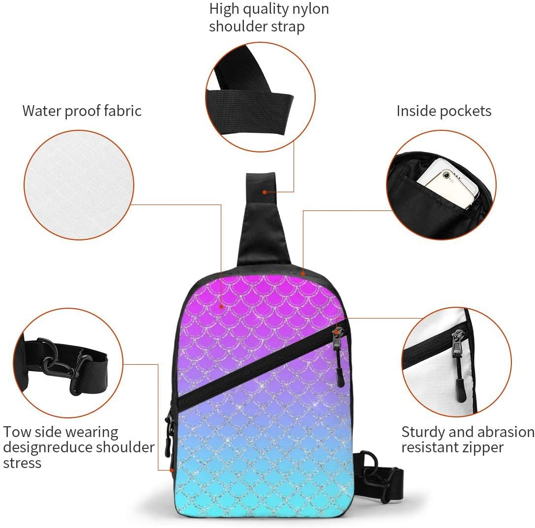 Gradient Mermaid Chest/Sling/Bag/Crossbody/Backpack/Shoulder/Casual/Daypack/Rucksack/for/Men/Women/Outdoor/Cycling/Hiking/Travel