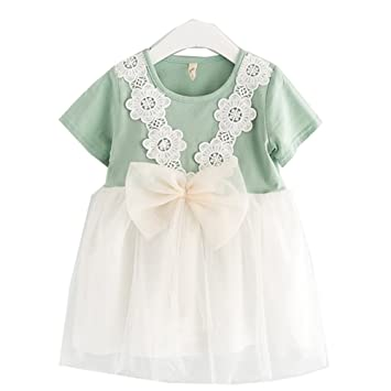 Girls Lace Flower Dress - Summer Kids Bow Tie Round Neck Cute Princess  Dresses for Girl 0ca95eebe