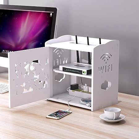 Estantes de pared Caja de limpieza de cables, caja de almacenamiento hueca tallada, Apple TV, Roku 3/2, decodificador, mini computadora, estante de almacenamiento de enrutador WIFI, adecuado for la sa: Amazon.es: Hogar