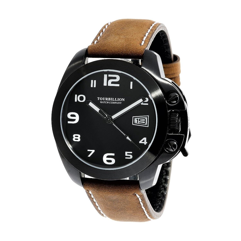 Tourbillion Watch CompanyモダンコレクションWatch IPブラックケースブラックダイヤルホワイトアラビア数字王冠安全ロック、ブラウン本革ストラップ B073V7WJKX