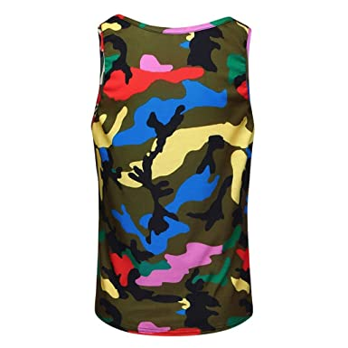 DIKEWANG Men Fitness Cotton Muscle Slim Fit O-Neck Camouflage Sleeveless Breathable Wicking Bodybuilding Tight-Drying Vest Tops