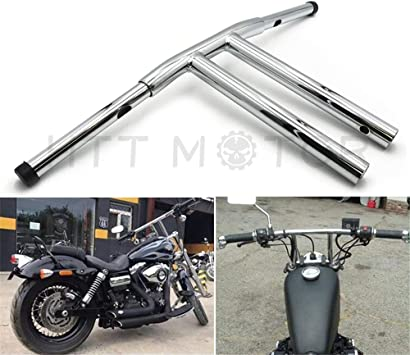 Replacement of Black 12 Rise T-Bars Handlebar Drag Bar For Harley 96-17 Sportster Dyna Softail HTTMT