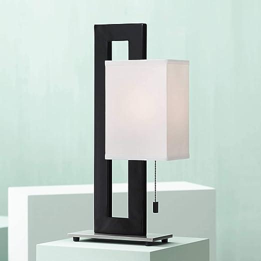 Floating Square Modern Accent Table Lamp Black Metal Rectangular White Box  Shade for Living Room Family Bedroom Bedside - 360 Lighting