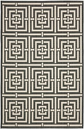 Safavieh Courtyard Collection CY6937-26 Black and Bone Indoor Outdoor Area Rug 9 x 12