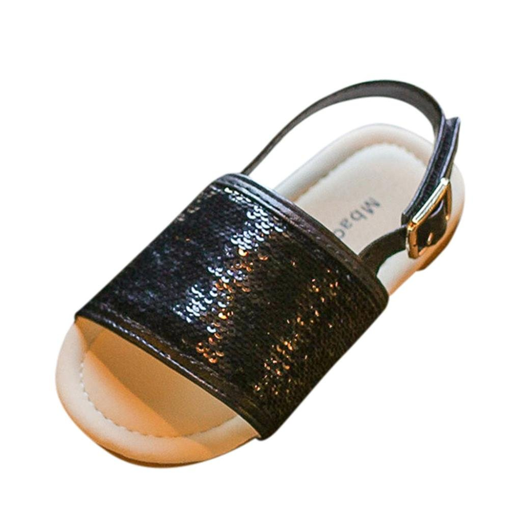 Toddler Little Kid Voberry@ Girls Sequins Buckle Slide Gladiator Sandal Slippers Beach Shoes