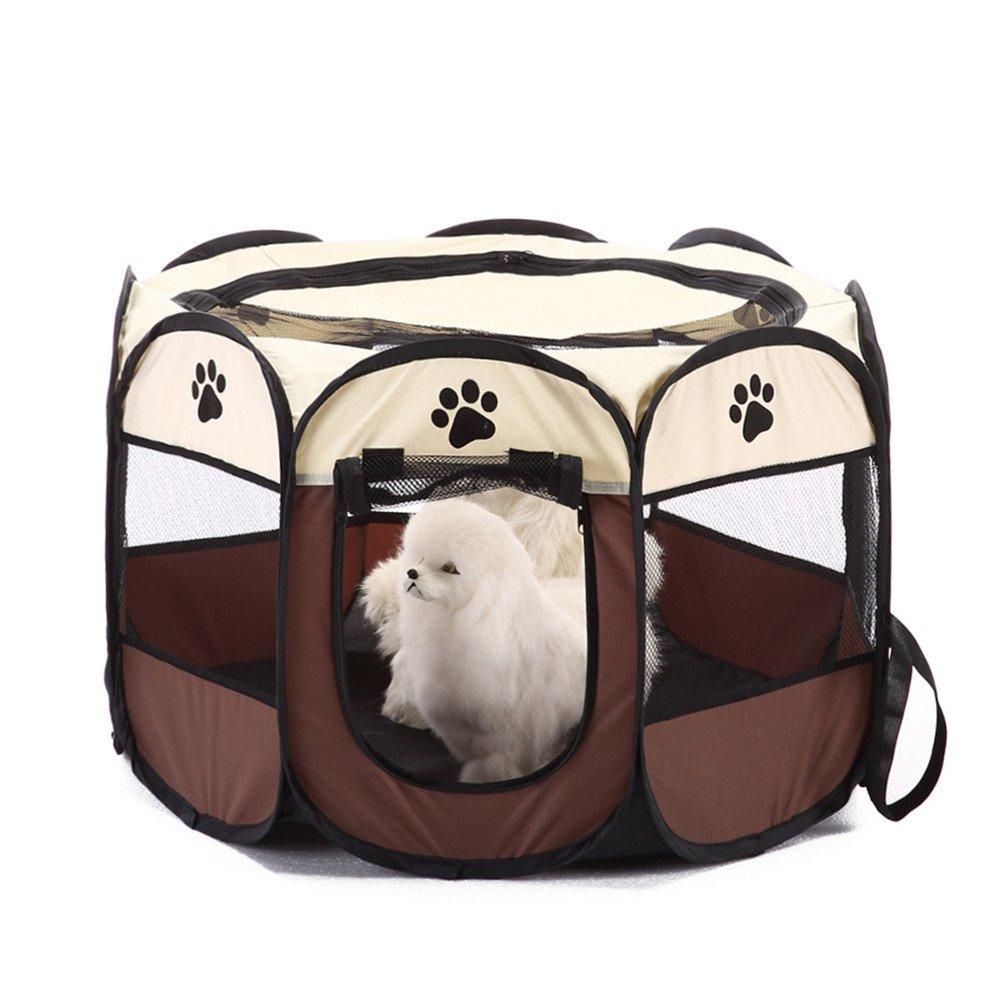LJSLYJ 8-Côté Pliable Animal Tente Chien Maison Cage Chien Chat Tente Parc Chiot Chenil Clôture Octogonale Fournitures de Plein Air (M, Rouge)