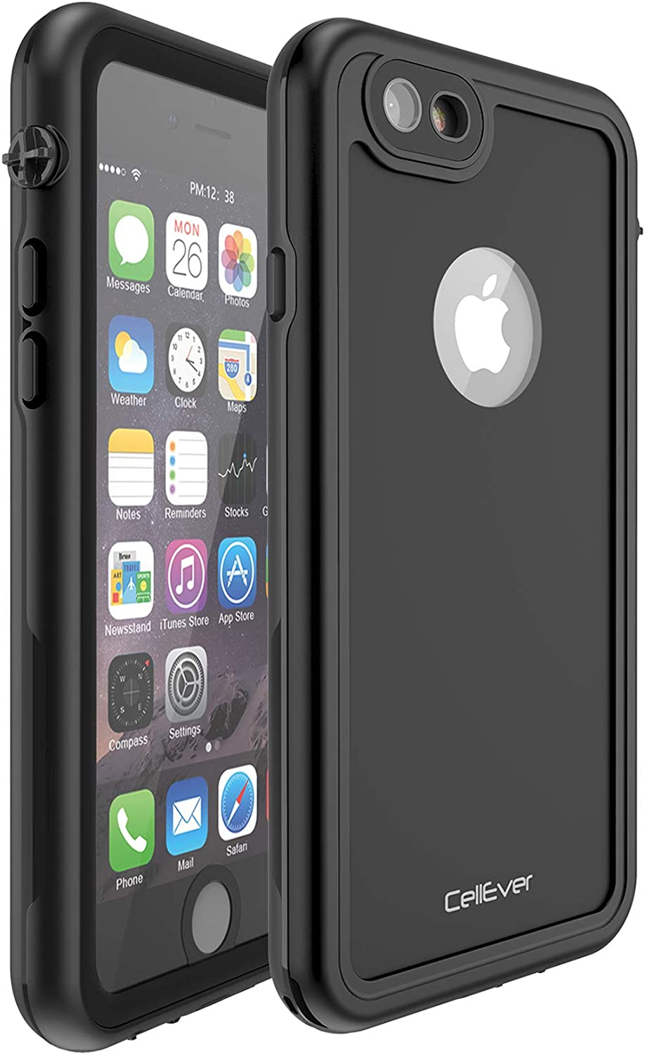 CellEver Compatible with iPhone 6 Plus / 6s Plus Waterproof Case Shockproof IP68 Certified SandProof Snowproof Full Body Protective Cover Designed for iPhone 6 Plus and iPhone 6s Plus KZ C-Black