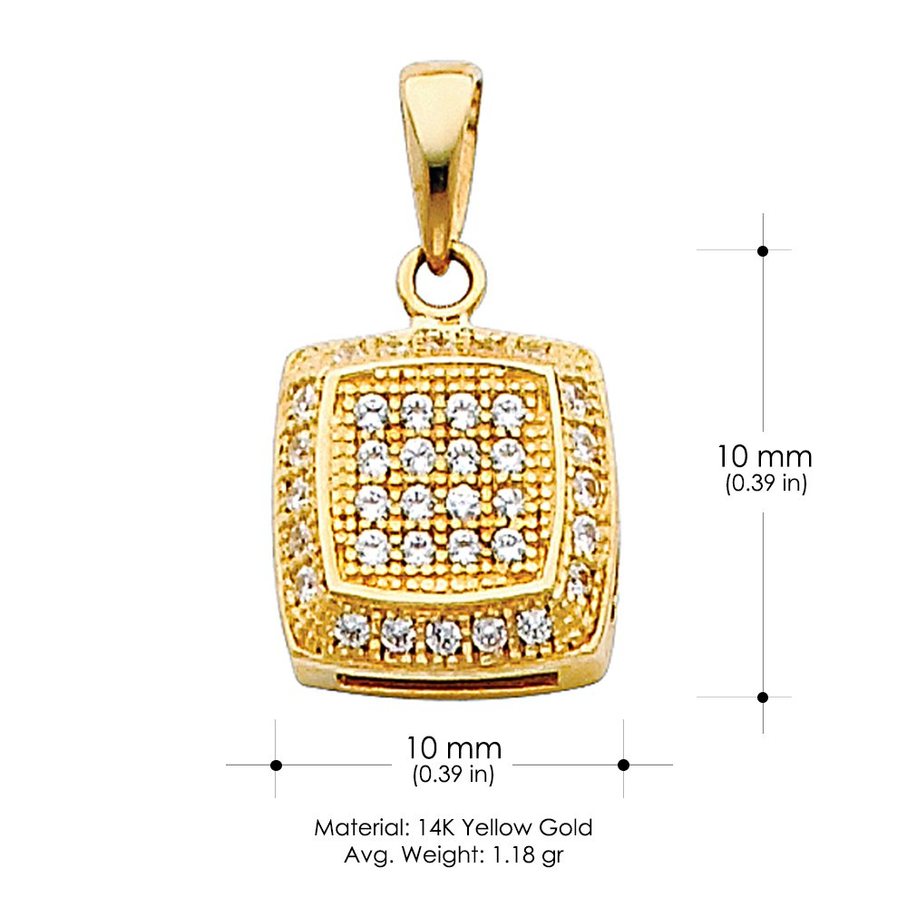 14K Yellow Gold 10mm Fancy Rounded Square Cubic Zirconia CZ Charm Pendant For Necklace or Chain