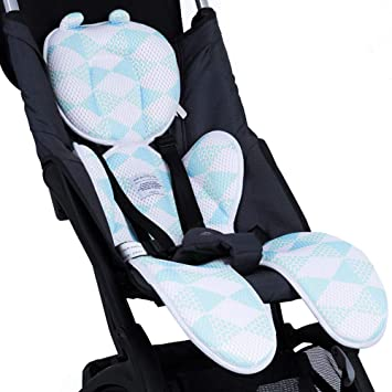 Luchild Baby Head Support Pillow Breathable 3D Mesh Cool Seat Mat Cushion Liner for Stroller Car Seat High Chair Pushchair Blue