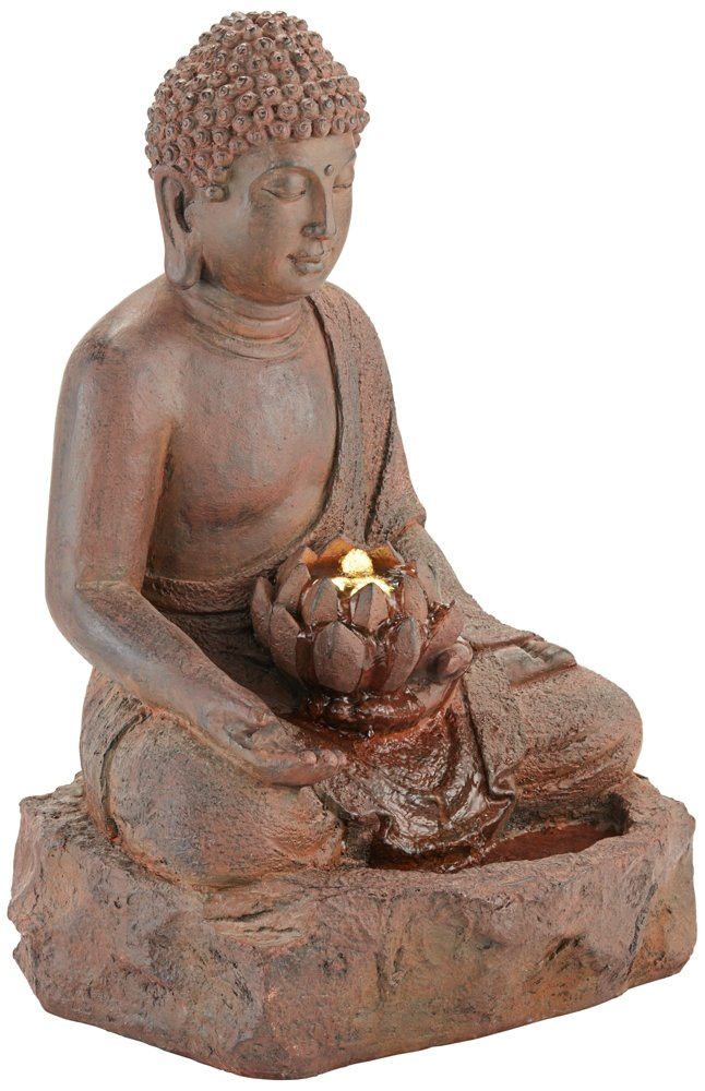 Buddha 24'' High Rust Cast Bronze Indoor/Outdoor LED Fountain