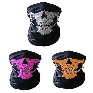 Máscara de entrenamiento, cráneo tubular protectora polvo Máscara de calavera Bandana motocicleta poliéster Scarf-