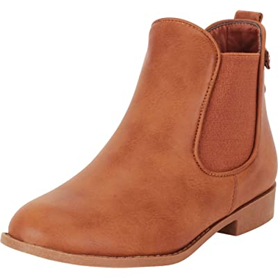 Cambridge Select Women's Classic Chelsea Round Toe Low Heel Stretch Ankle Bootie: Shoes