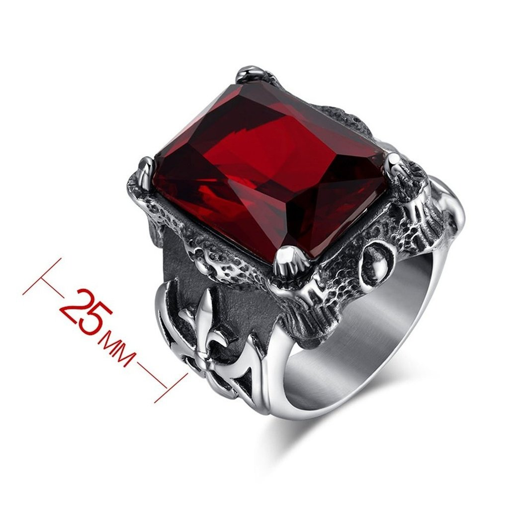 KnSam Stainless Steel Rings Womens Stainless Steel Red Cubic Zirconia Casting Ring Silver Width 25Mm Size 6-9,Engraving
