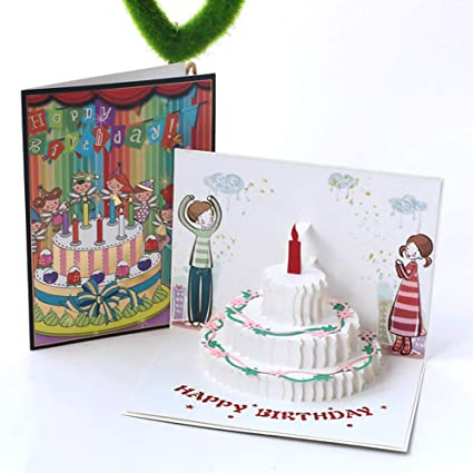 3D Pop Up Birthday Cards Funny Candle Cake Gift Greeting