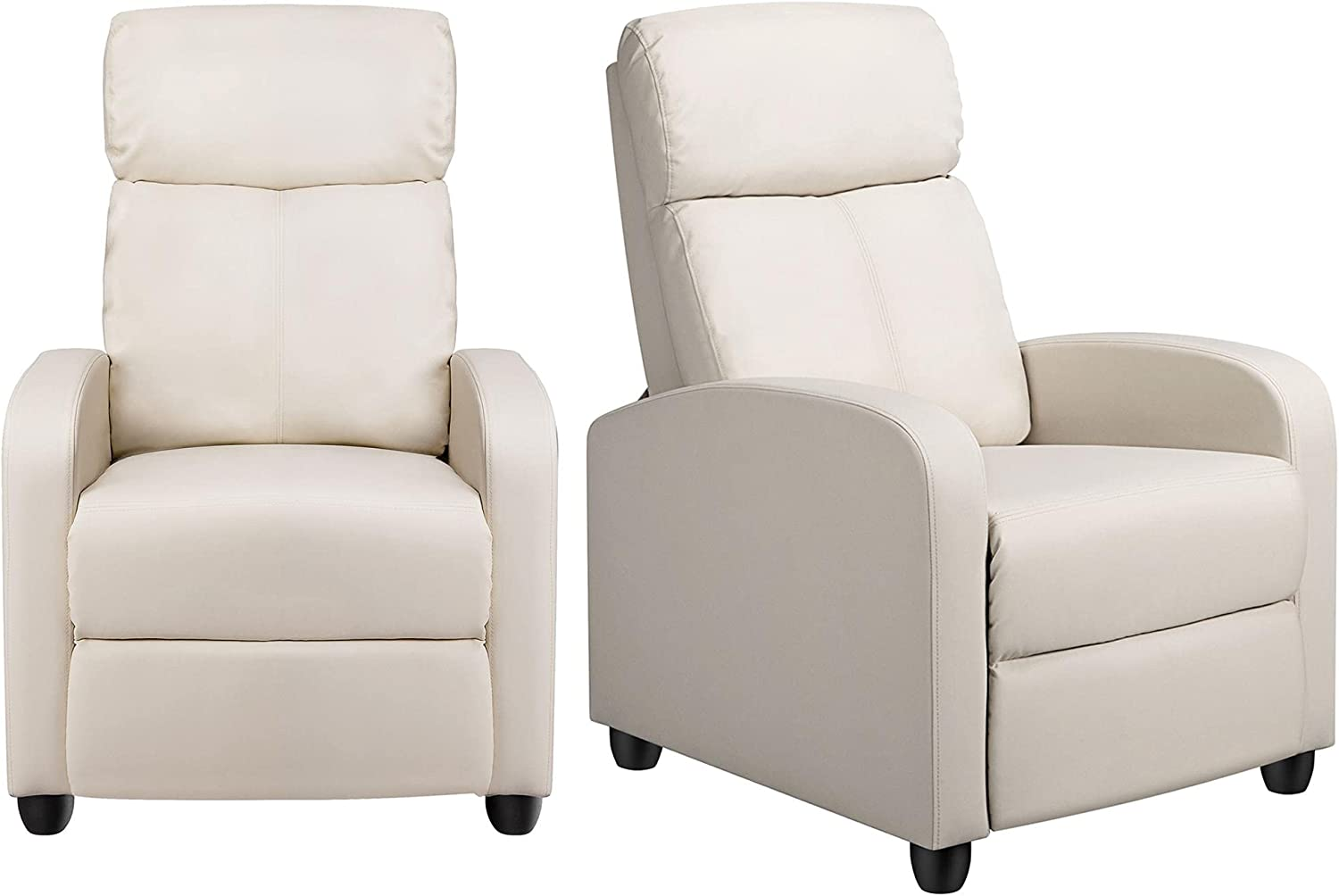 YAHEETECH PU Leather Reclining Chair Single Sofa for Living Room Padded Seat with Pocket Spring for Small Space Living Room Bedroom Home Theater Beige