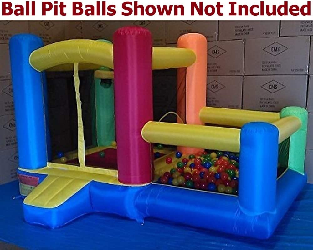 Little Castle Bounce House w/ Attached Ball Pit & Step ( Balls Sold Separately ) - Best for Kids Age 1~6, Perfectly Sized for Indoor or Outdoor Use (AZ-600 w/ Ball-Pit, Without Balls)