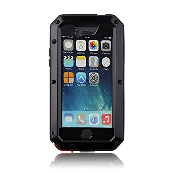 buy online 5c525 f23db New Waterproof Shockproof Aluminum Gorilla Glass Metal Military Heavy Duty  Armor Bumper Cover Case for Apple iPhone 5 5S Home Key +Fingerprint - Black