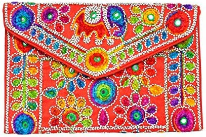 Traditional Handmade Clutch Bag by Indian artists in Red colour Mothers Day collection