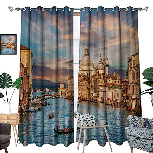 ating Blackout Curtain Gondola on Famous Canal Grande with Basilica di Santa Maria Della Salute in Evening Patterned Drape for Glass Door W120 x L84 Blue Cream ()