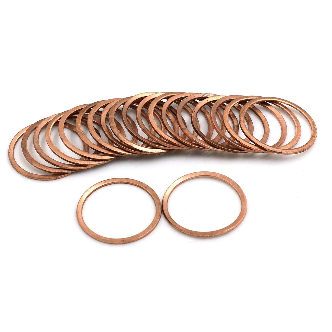 X AUTOHAUX 20pcs 26mm Inner Dia Copper Washers Flat Sealing Gaskets Ring for Car by X AUTOHAUX (Image #2)